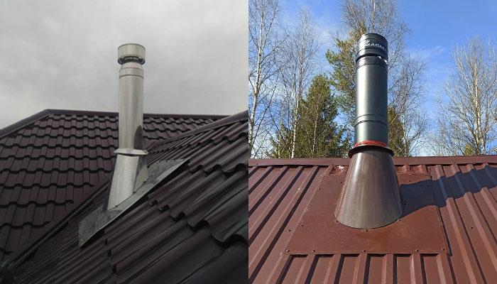 Гидроизоляция трубы на крыше с помощью УПК
