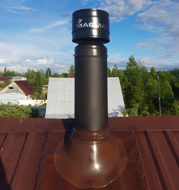 Дымоход MAGMA на крыше дома
