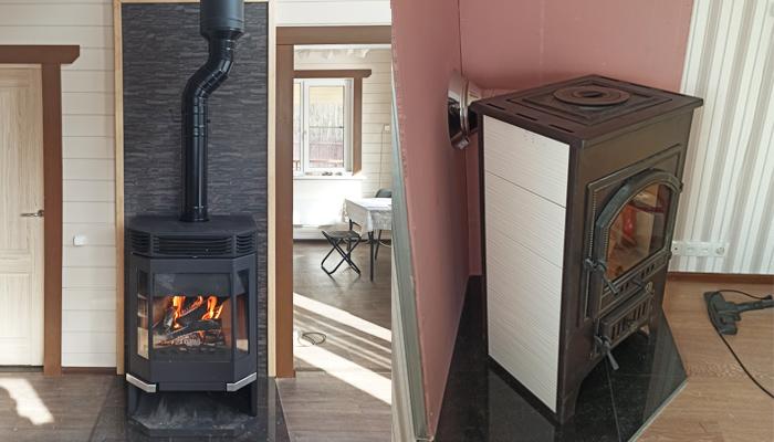 Печь-камин с верхним выходом дымохода и задним