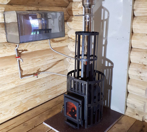Банная печь с теплообменником и навесным баком